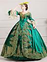 O piesă/Rochii Lolita Stil Gotic Steampunk® Rococo Cosplay Rochii Lolita Verde Vintage Poet Manșon Lung Lung Rochie Pălărie Combinezon