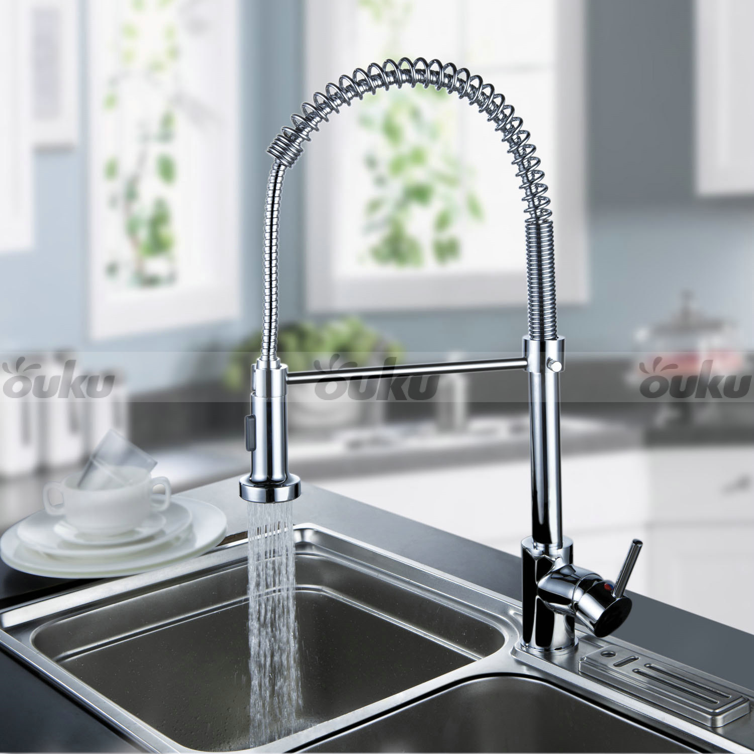 Us Modern Chrome Brass Pull Out Spring Kitchen Faucets Spout Sink Mixer Tap Ebay