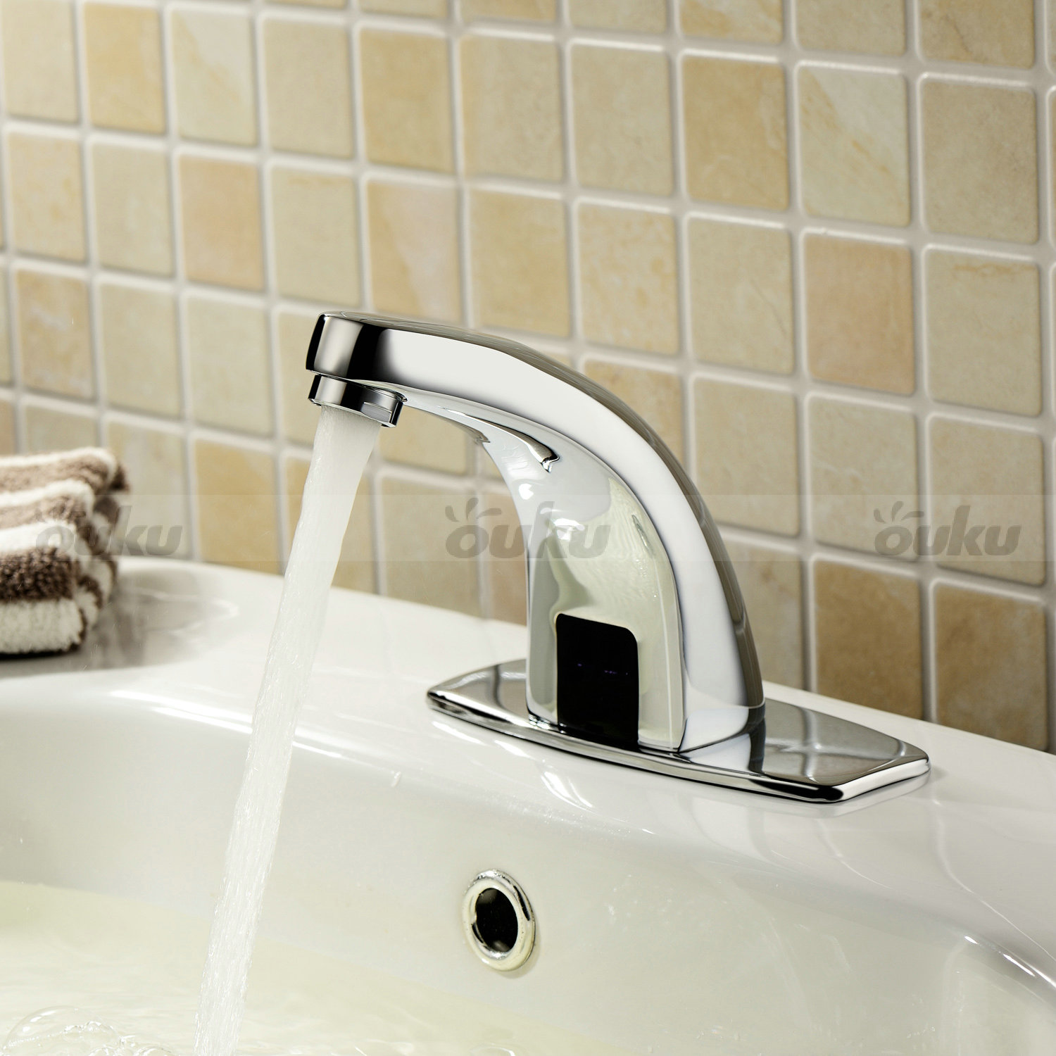Brass automatic sensor faucet auto touchless electronic sink tap hand free ln01 ebay for Automatic bathroom sink faucets