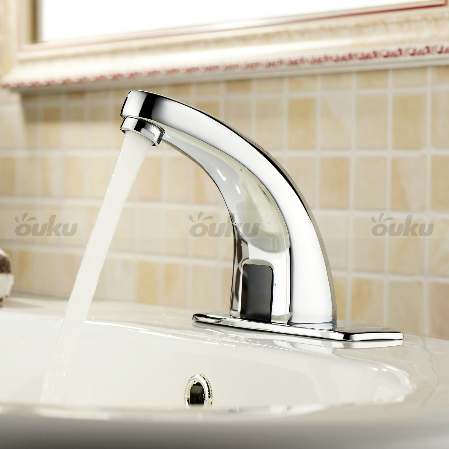 Brand automatic electronic hands free mixer sensor tap faucet bathroom basin ebay for Automatic bathroom sink faucets
