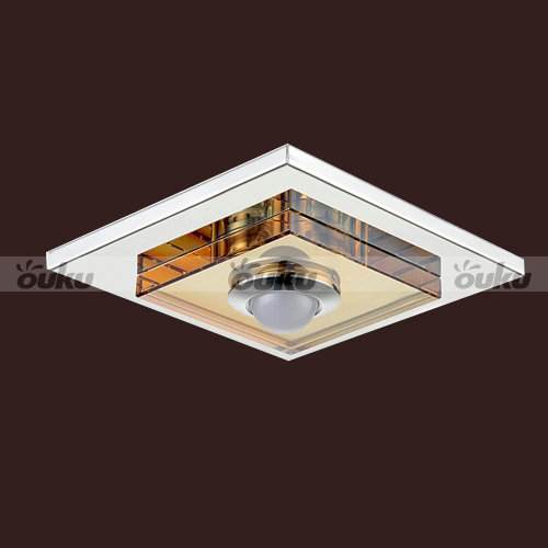 3w led amber crystal ceiling light 1 light flush mounted