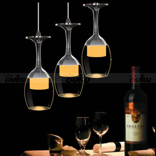 Modern Crystal Wine Glass Pendant Light LED Chandelier