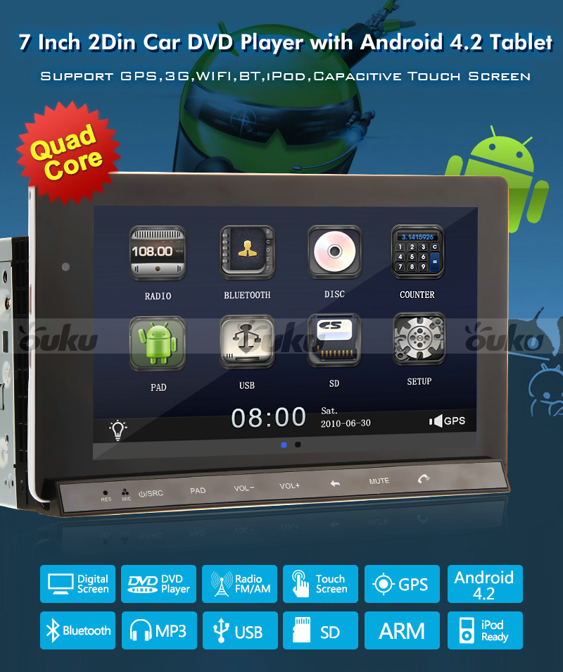 android car stereo gps cd dvd player 7 tablet double din. Black Bedroom Furniture Sets. Home Design Ideas