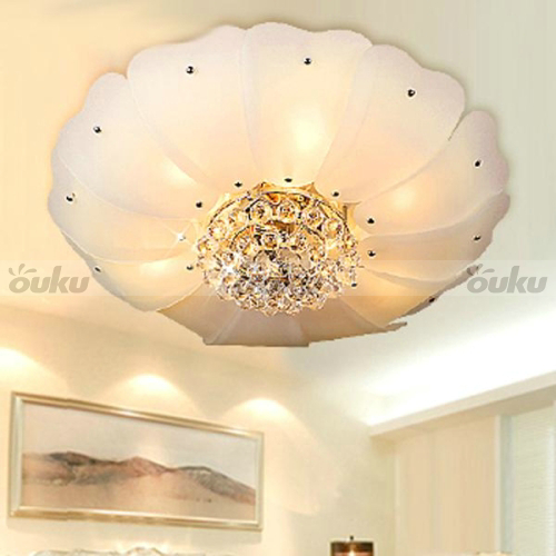 Vintage Flower Crystal Flush Mount Ceiling Chandelier Light ...