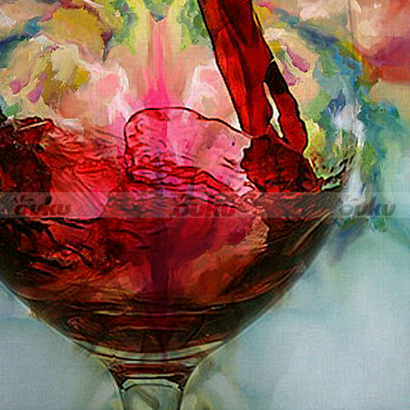Hand painted red wine glass cup bottle canvas oil painting for How to paint glass with oil paint