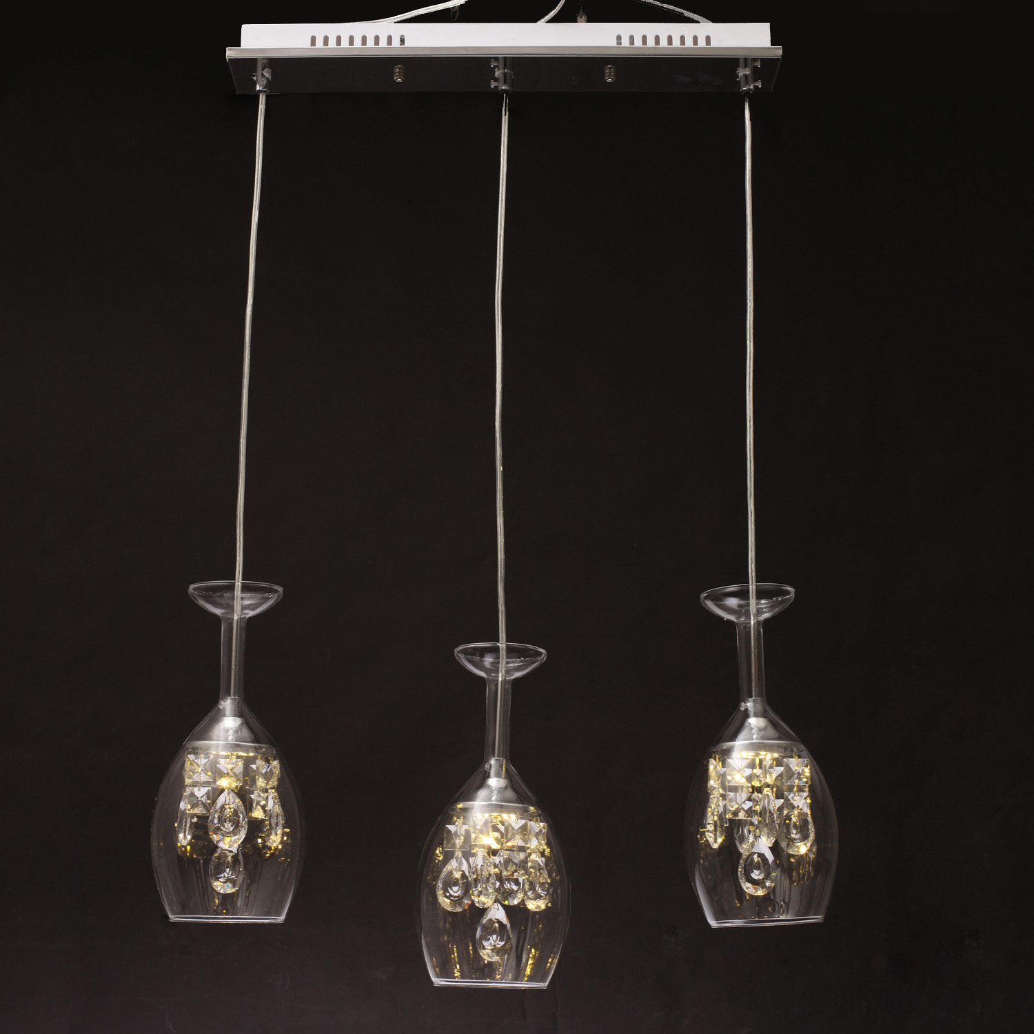 Glass led chandelier elegant modern ceiling light lamp for Modern chandelier lighting fixtures