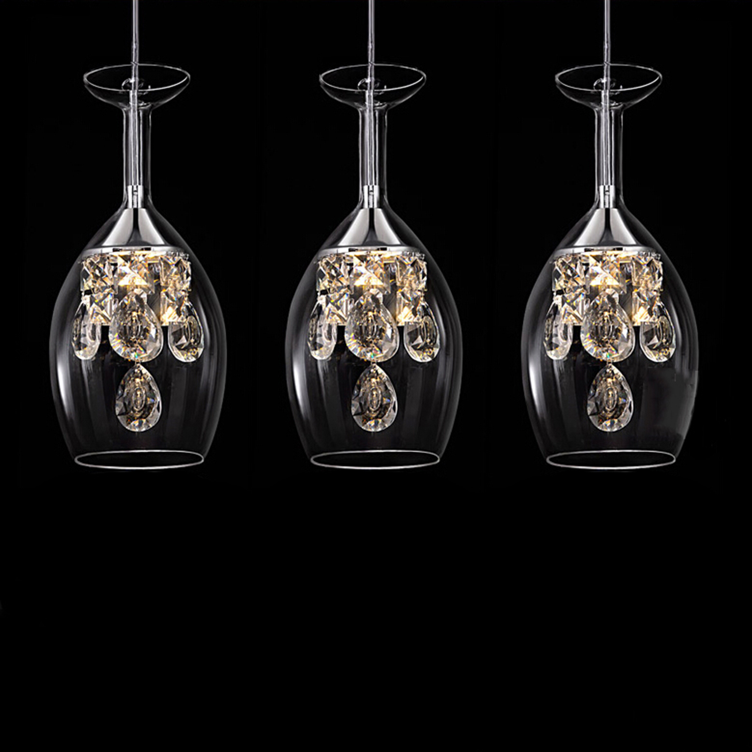 Island Modern Crystal LED Mini Pendant Three Light Ceiling