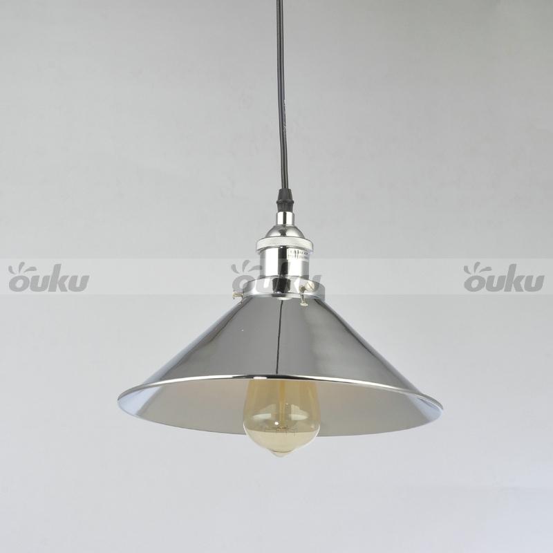Simple Pendant Lights Metal Polished Nickel Fixture