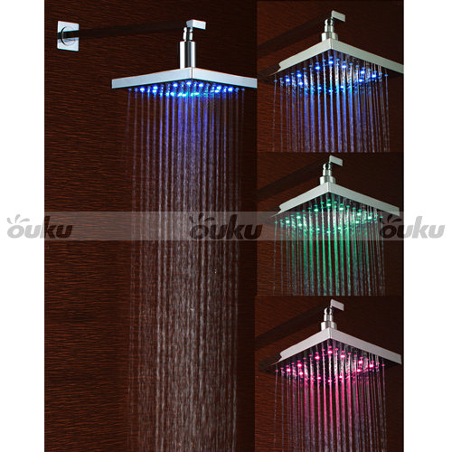 CANADA Sale Color Changing Chrome LED Rain Shower Head