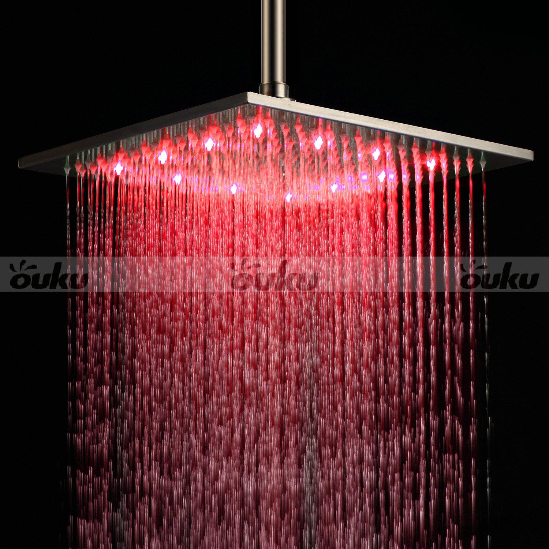 12 Quot Led Light Square Rain Shower Head Stainless Steel