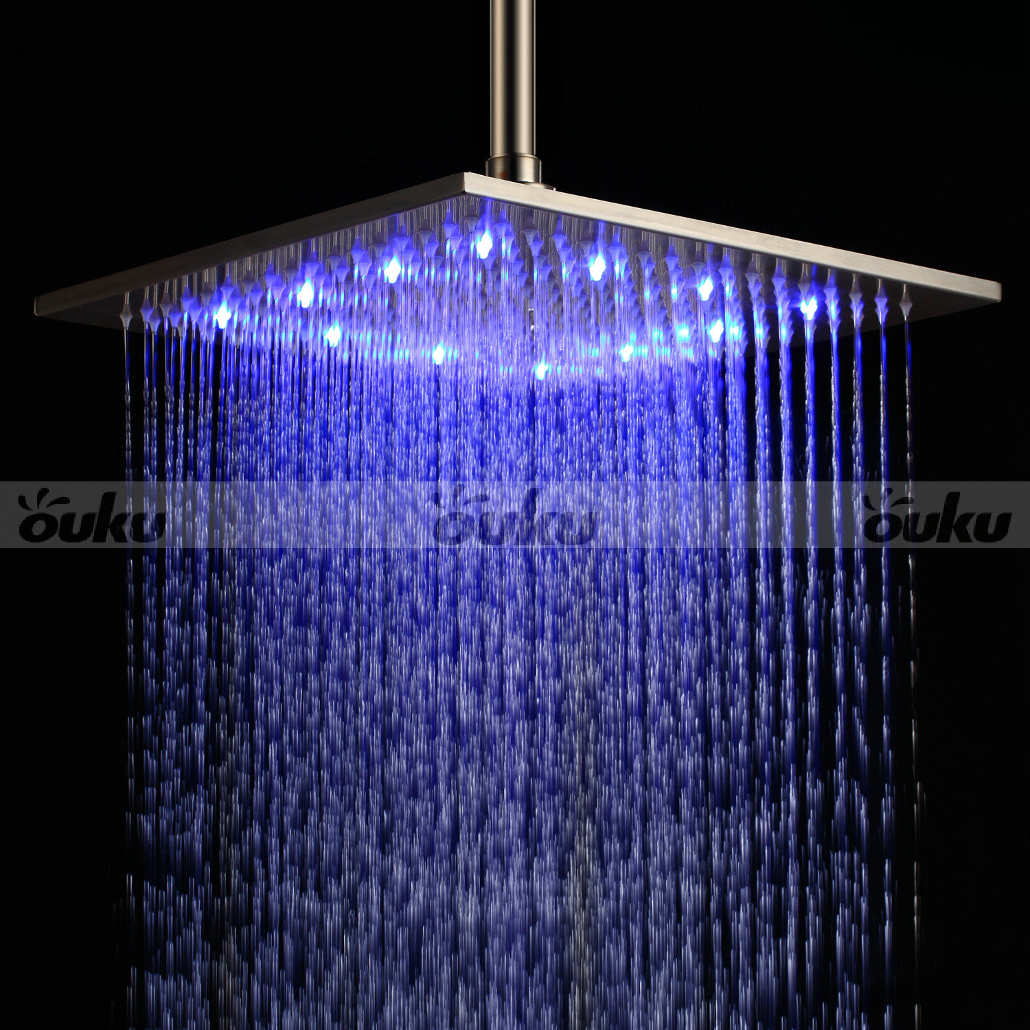 Stainless steel shower head with 3 color changing led light ceiling mount 12 uk ebay - Rain shower head ...