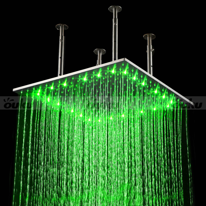 20 Large Rain LED Shower Set Faucet Double Waterfall Shower Super Showe