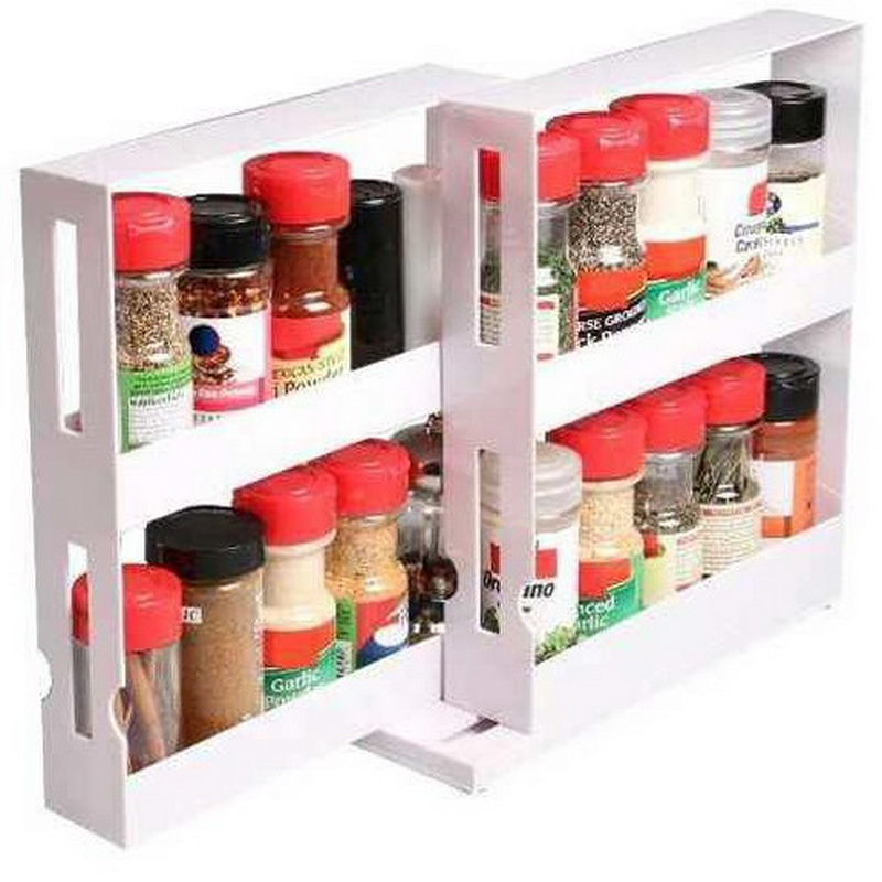 Kitchen Cabinet Spice Racks: 2 Tier Spice Rack Cabinet Holder Shelf Kitchen Organizer