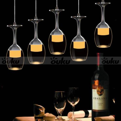 Modern Led Crystal Wine Glasses Chandelier Ceiling Lights