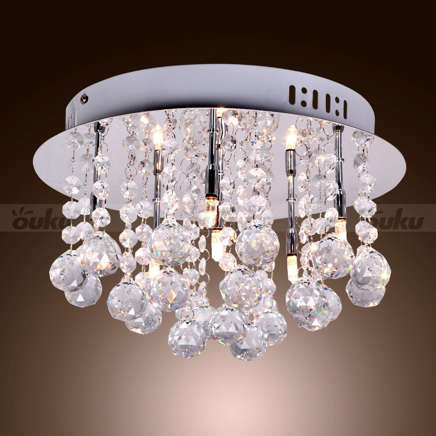 Led Crystal Glass Chandelier Round Ceiling Light Pendant Lamp Hanging Fixture