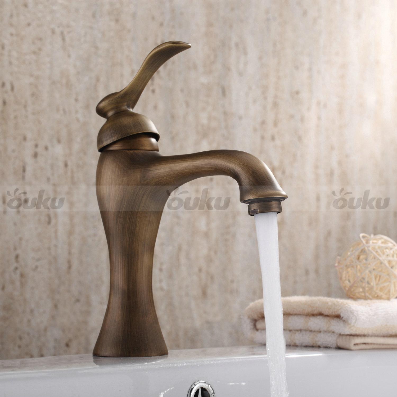 Vintage widespread sink antique brass bathroom basin - Antique brass faucets for bathroom ...