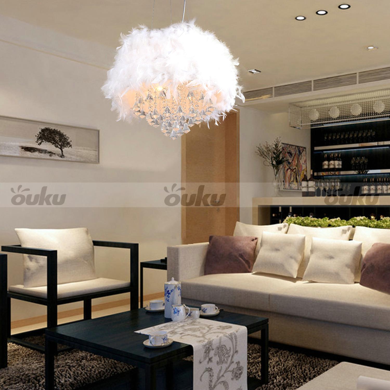 girls 39 white feather chandelier 3 lamp crystal drop pendant lights pendant lamp ebay. Black Bedroom Furniture Sets. Home Design Ideas