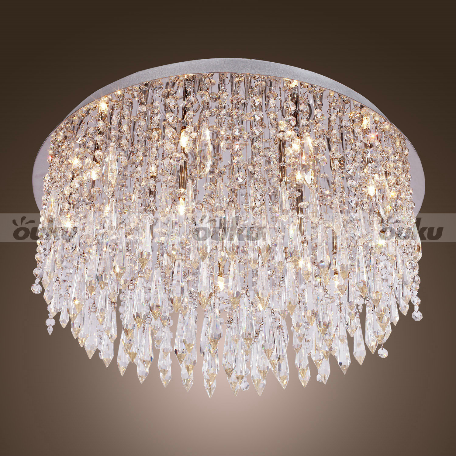 240W Crystal Flush Mount with 15 Lights in Round (G4 Bulb Base) - Modern Beaded Ceiling Chandelier Lighting Crystal Lamp Light