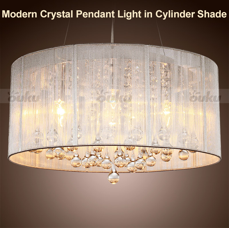 Crystal Chandelier With Drum Shade: NEW MODERN DRUM SHADE CRYSTAL CEILING CHANDELIER PENDANT
