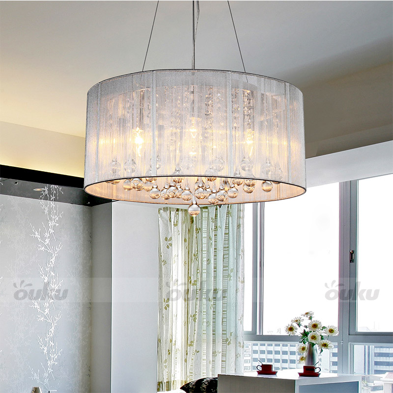 New modern drum shade crystal ceiling chandelier pendant for Modern living room ceiling lights