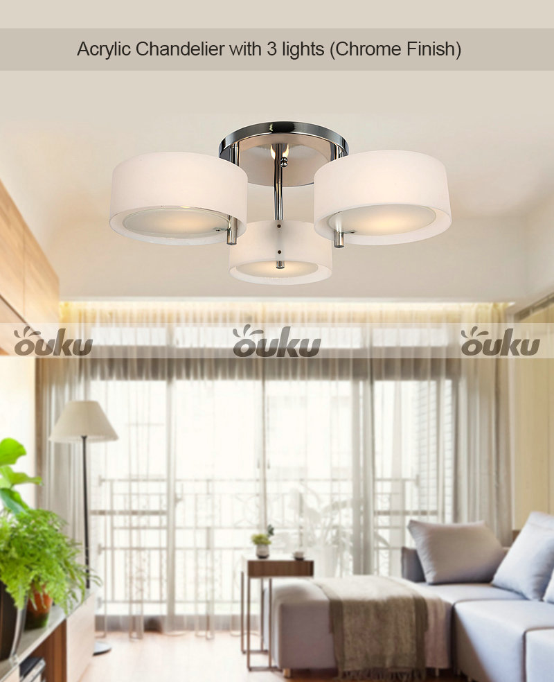 Top Modern 3 Round Shades Flush Mount Ceiling Lighting
