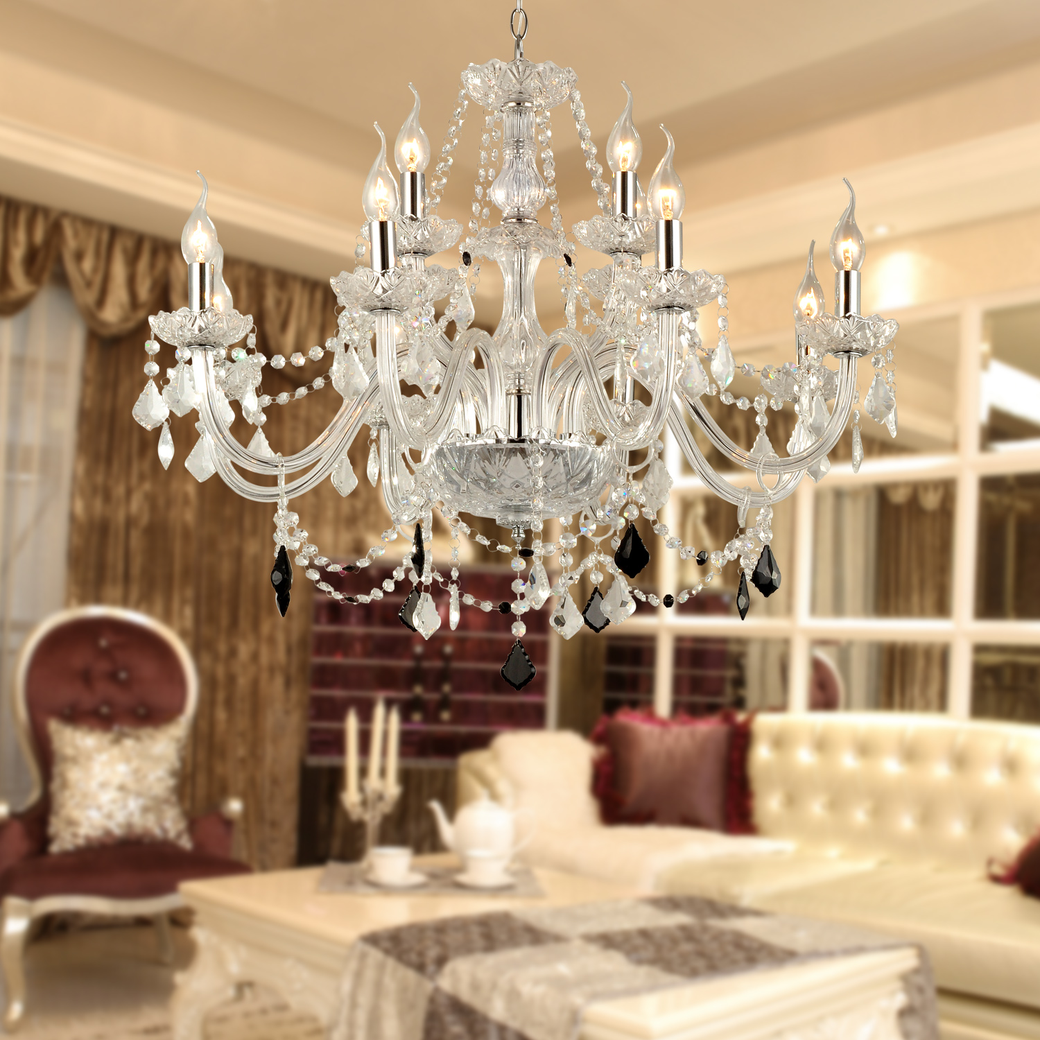 Glass Chandeliers For Dining Room: Rustic Luxury Crystal Glass Chandelier Light Pendant