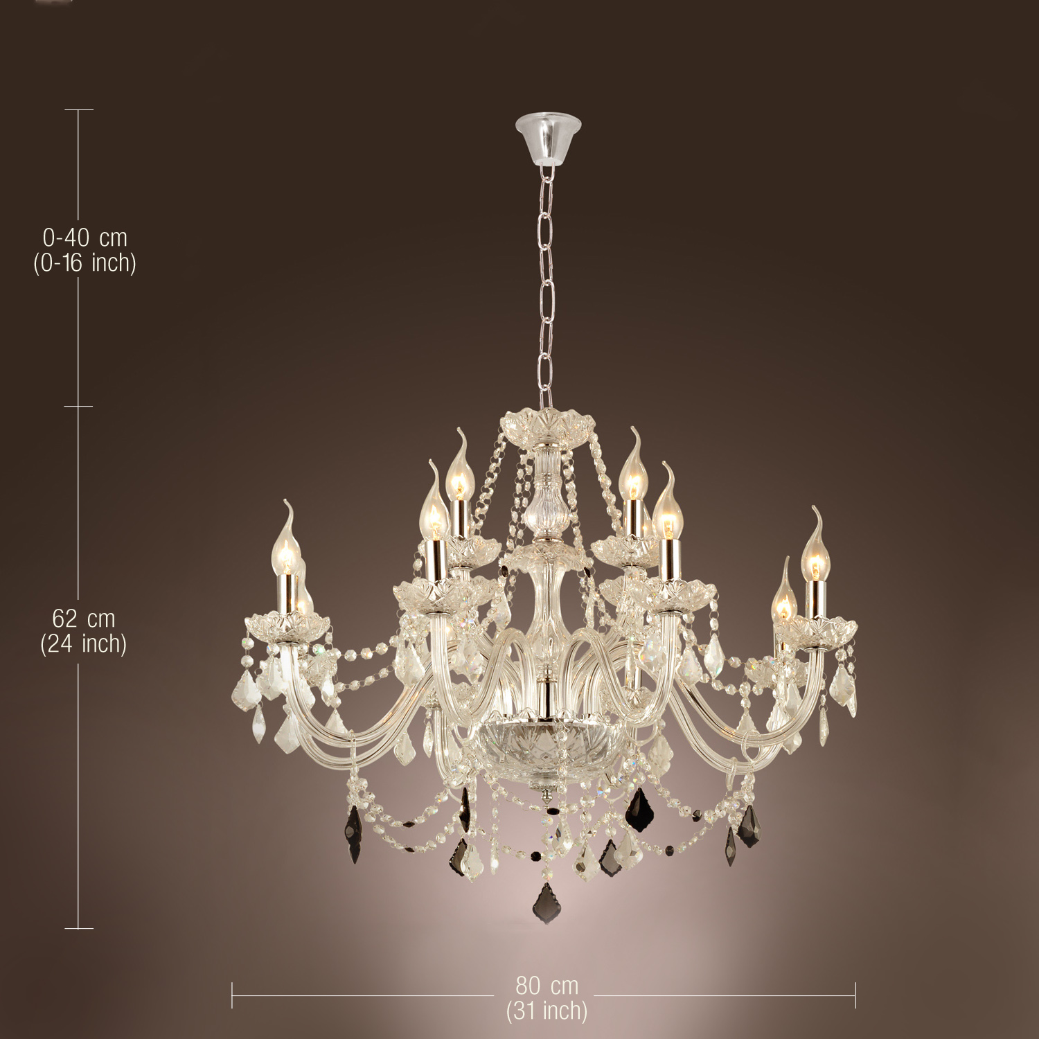 12 light venetian murano style crystal chandelier kitchen foyer dining room usa - Dining room crystal chandelier ...