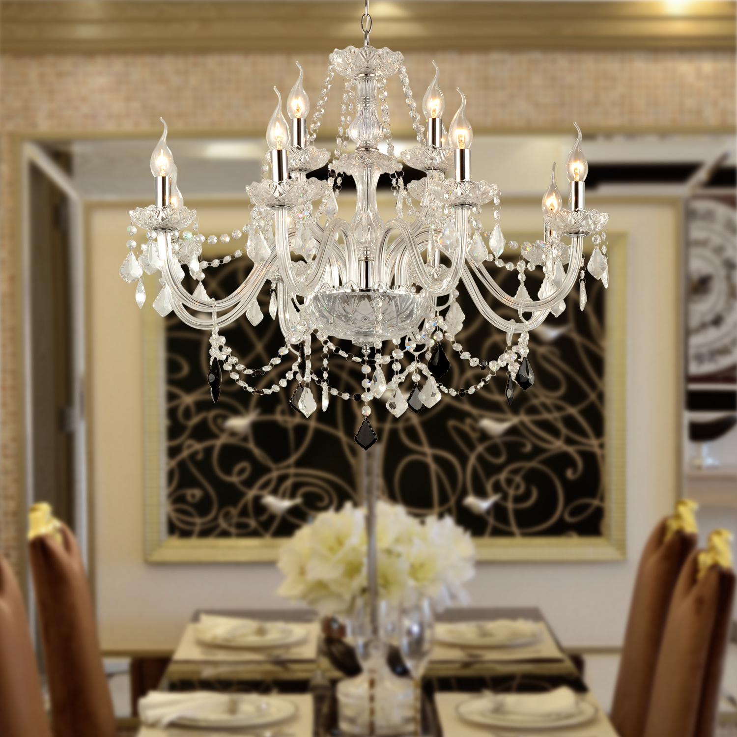 Glass Chandeliers For Dining Room: 12 LIGHT VENETIAN MURANO STYLE CRYSTAL CHANDELIER KITCHEN