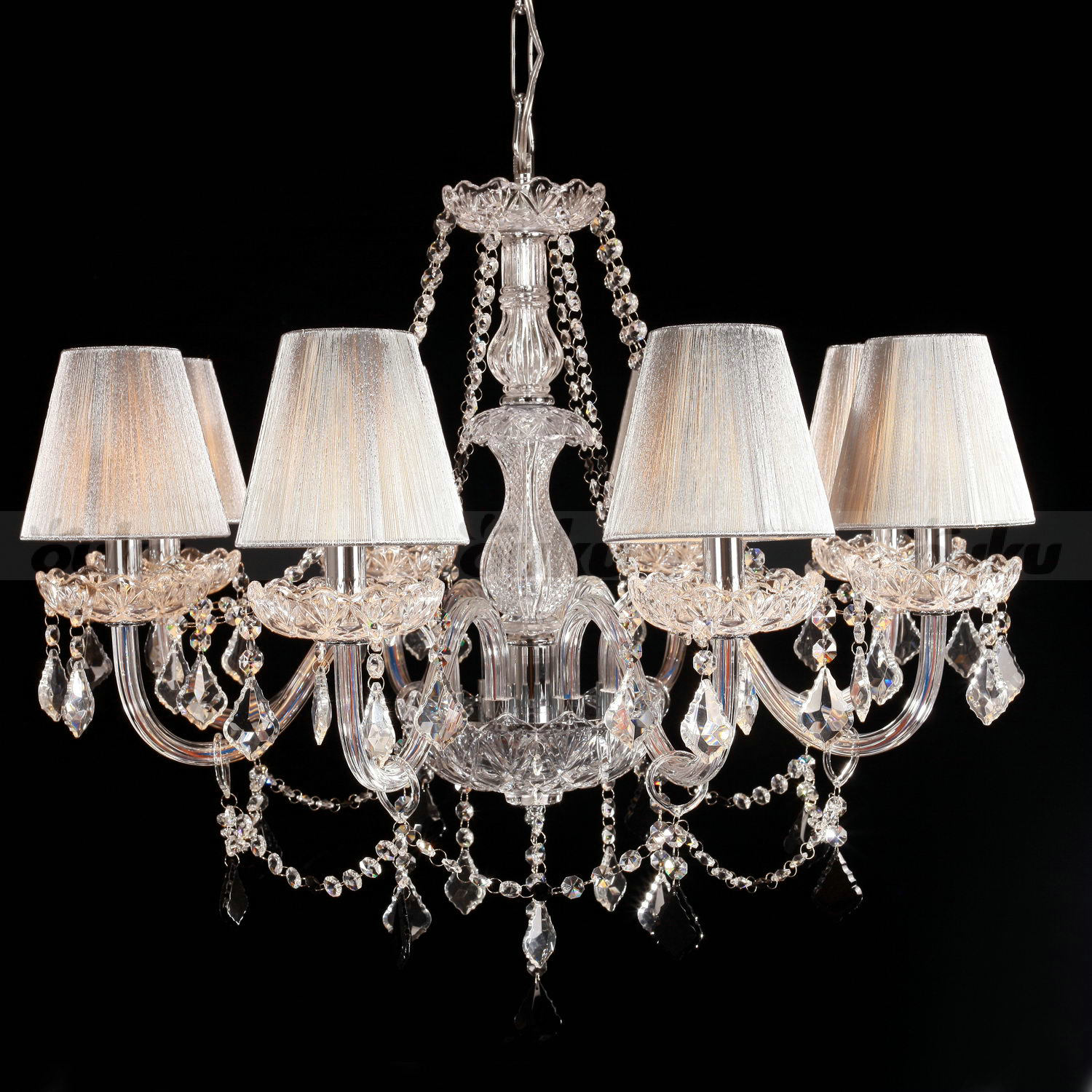 8 LIGHT CHANDELIER CRYSTAL WITH SHADES HAND BLOWN KITCHEN