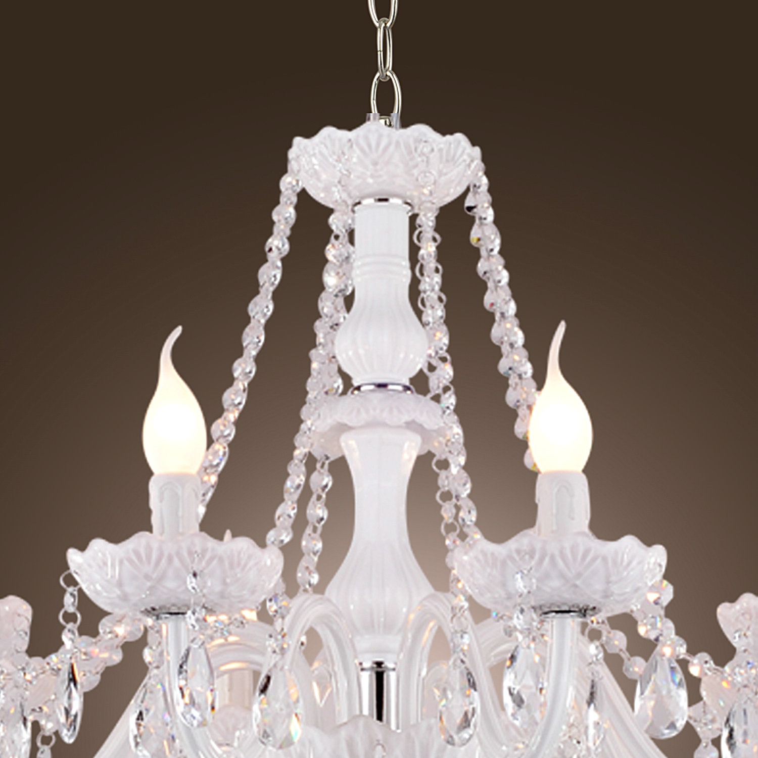 Candle Light Fixture: 8 Arms White Crystal Chandelier Candle-Light Pendant