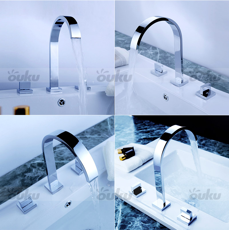 7 Faucet Finishes For Fabulous Bathrooms: Modern Widespread Chrome Finish Bathroom Basin Sink Dual