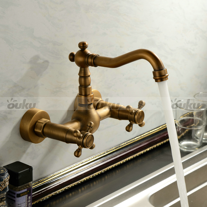 Antique inspired Bathroom Sink Faucet - Wall Mount Antique Brass ...