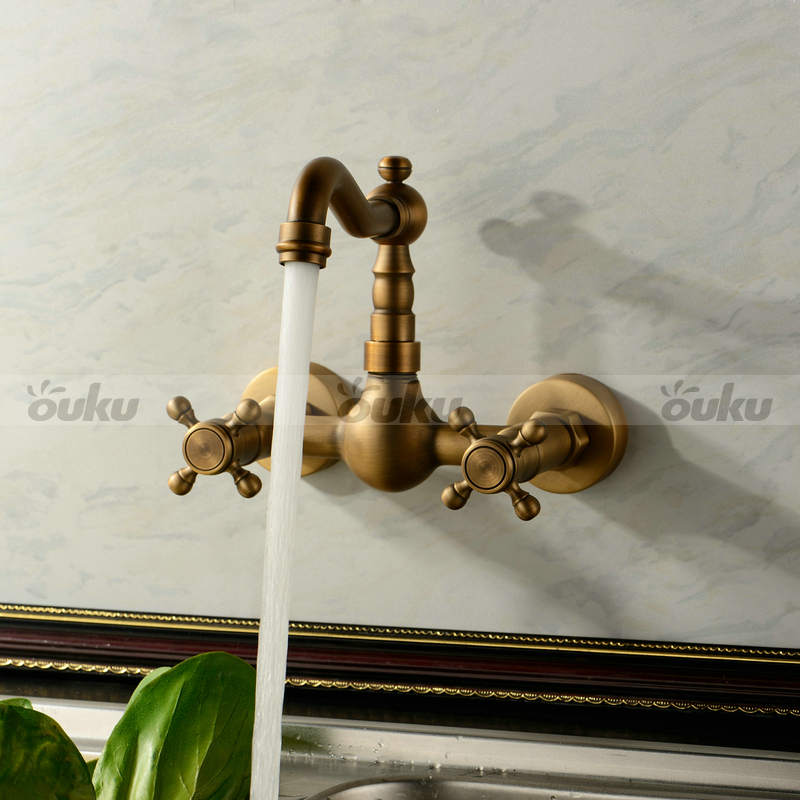 Wall Mount Double Handle Bridge Kitchen Sink Faucet In