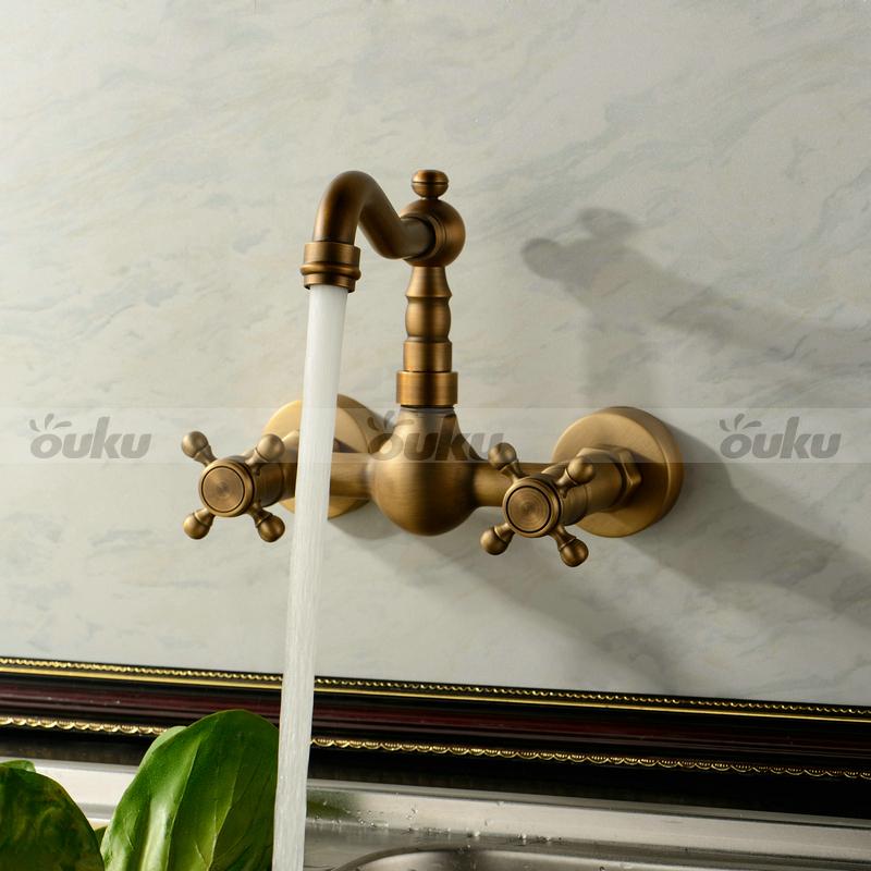 Kitchen Faucets Antique: Wall Mount Double Handle Bridge Kitchen Sink Faucet In