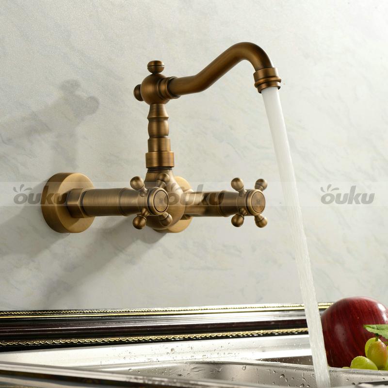 Sale Antique Double Handle Wall Mount Kitchen Faucet Mixer Tap Brass Finish Uk Ebay