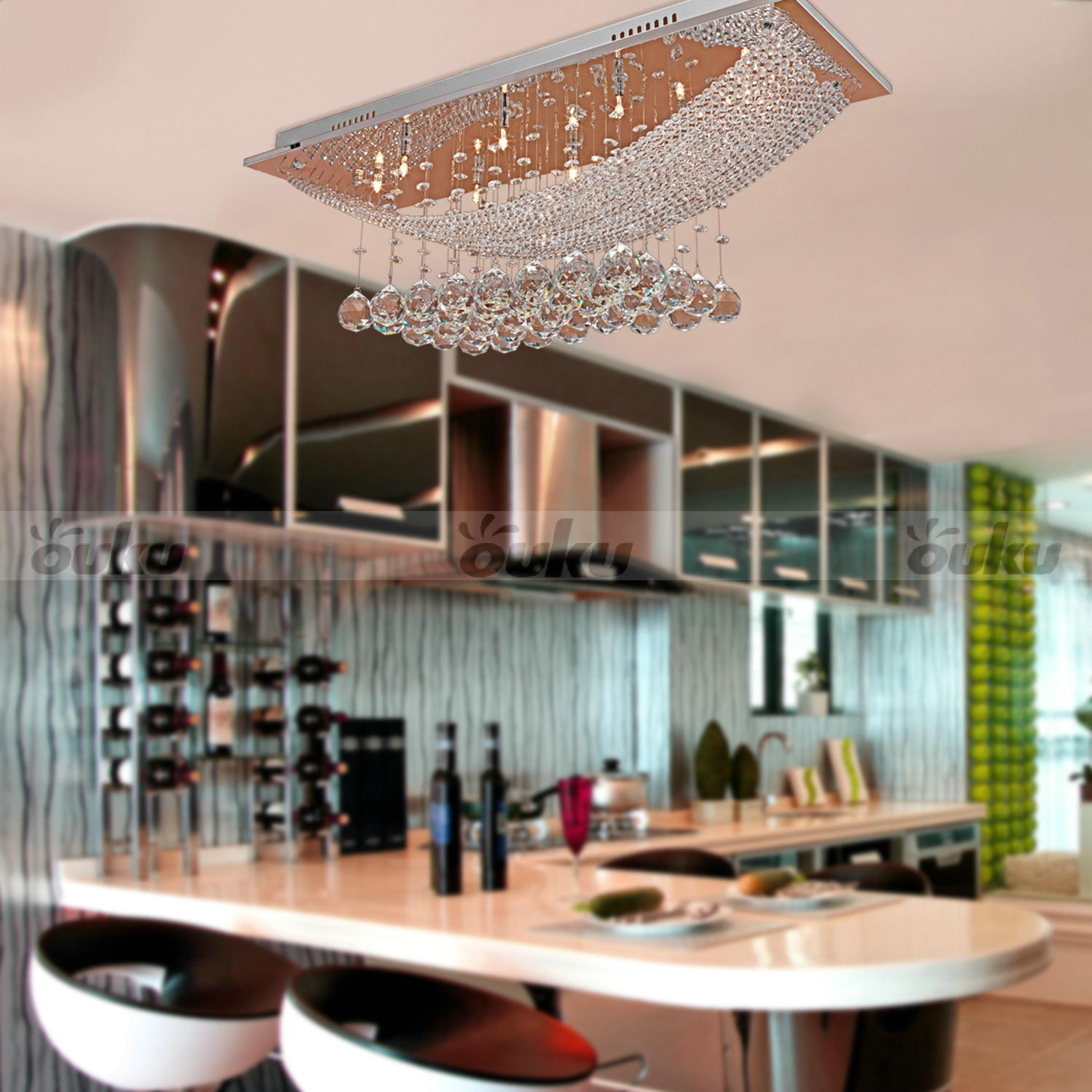 Light Filled Contemporary Living Rooms: Modern Pendant Ceiling Light Crystal Lighting Dining