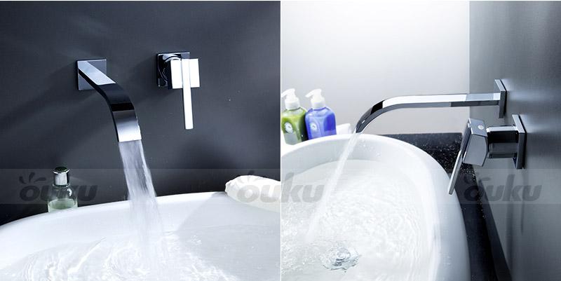 Tall Bathroom Vessel Sink Faucet Single Lever Waterfall: Bathroom Single Handle Wall Mount Vessel Brass Waterfall