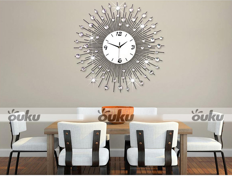 Peacock Iron Art Metal Living Room Wall Clock Modern Home