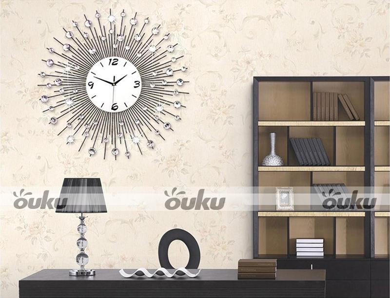 Metal Wall Decor For Bedroom : Analog scenic iron art metal wall clock modern home decor