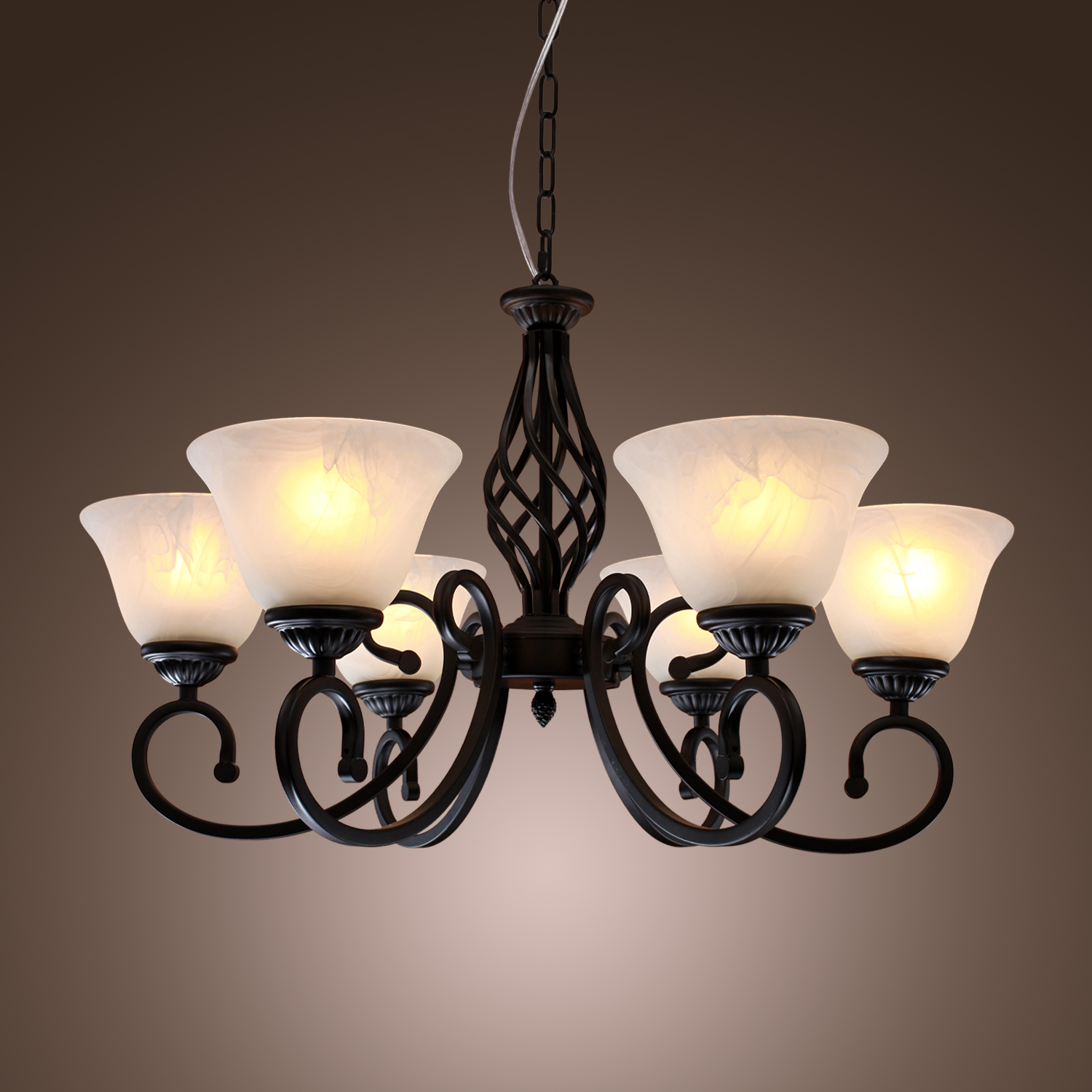 Chic metal black candle ceiling light fixture pendant lamp lighting chandelier ebay - Light fixtures chandeliers ...