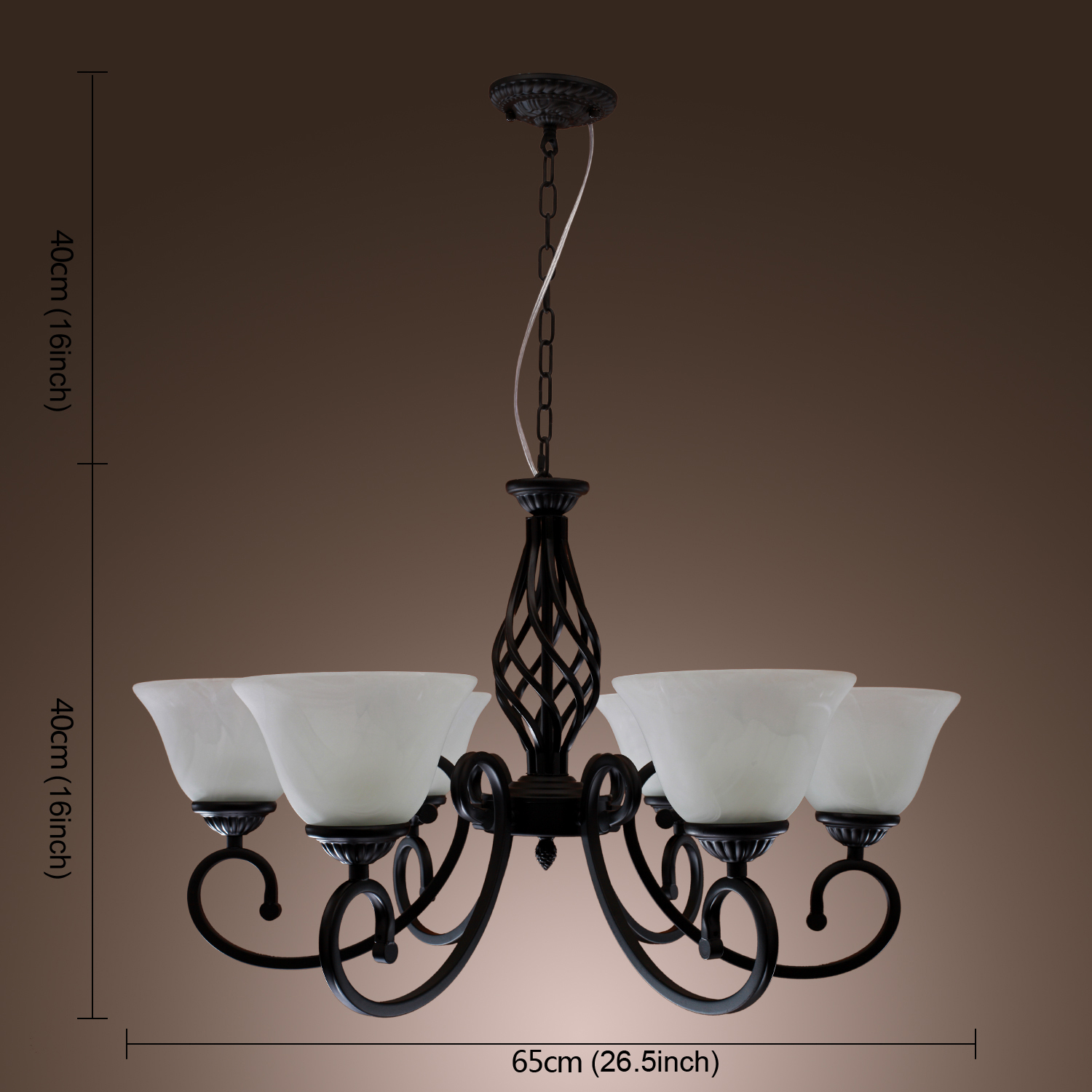 Black Candle Ceiling Lights : Chic metal black candle ceiling light fixture pendant lamp