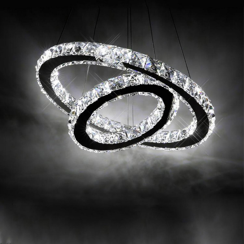 2 Circle Rings LED Acrylic Galaxy Chandelier Pendant Lamp