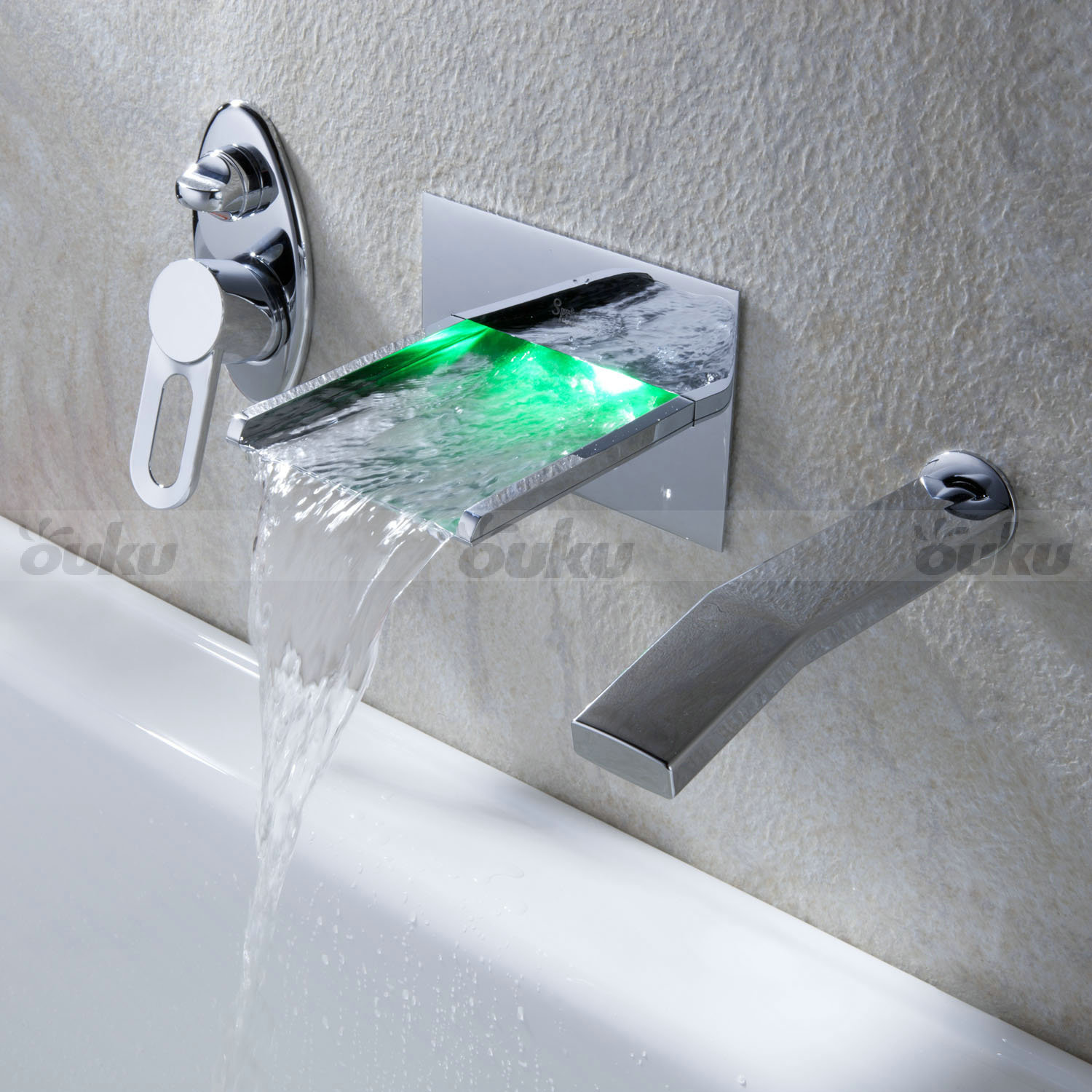 In Wall Mount Led Waterfall Tub Faucet Bathtub Mixer Tap Widespread Rgb Pullout Ebay