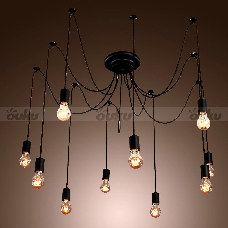 about 10 lights edison chandelier ceiling light pendant lamp fixture. Black Bedroom Furniture Sets. Home Design Ideas