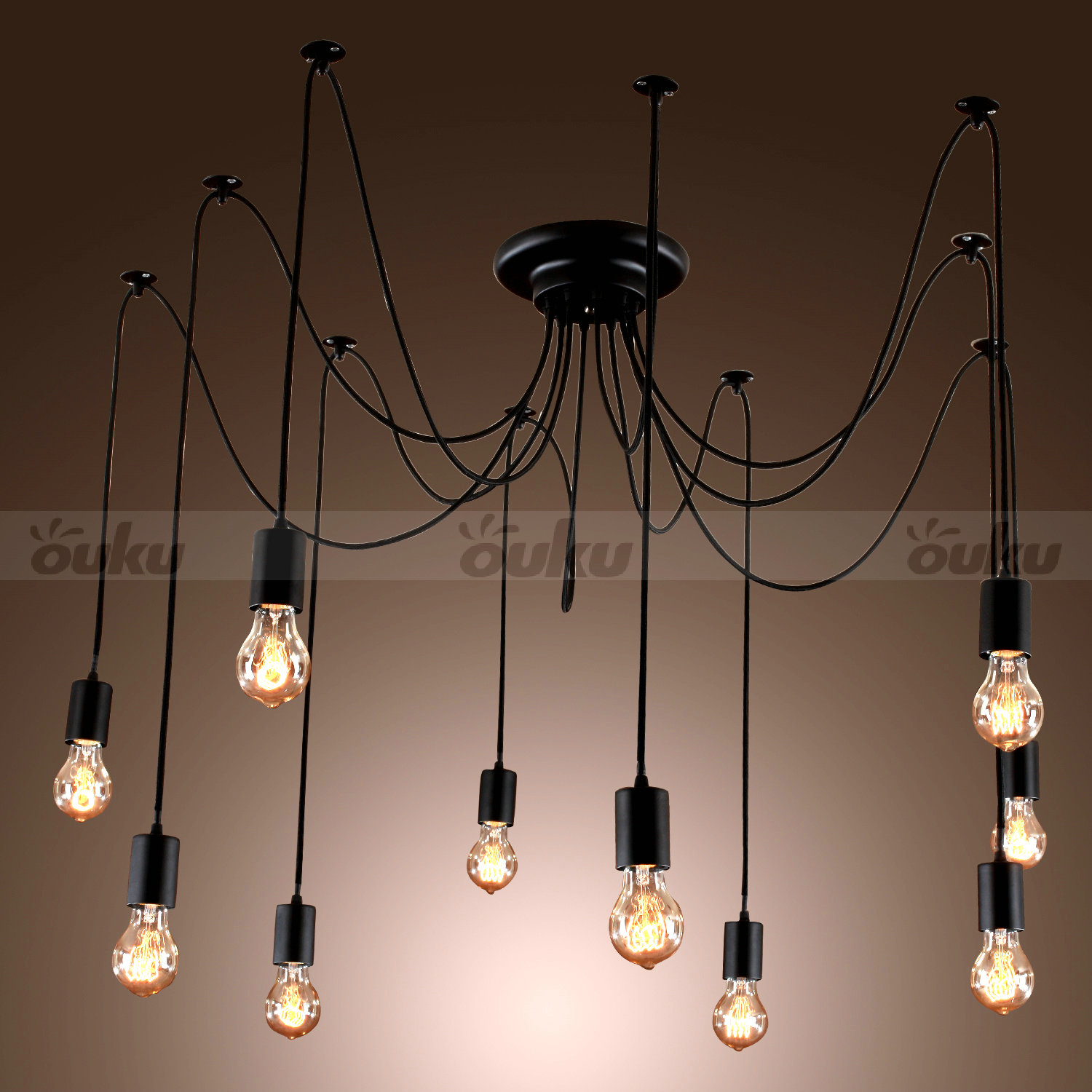 Edison style 10 lights bulb chandelier ceiling light pendant lamp fixture ebay - Chandelier ceiling lamp ...