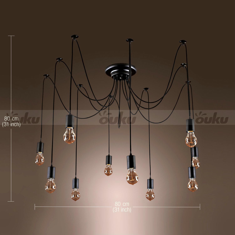 edison style 10 lights bulb chandelier ceiling light pendant lamp. Black Bedroom Furniture Sets. Home Design Ideas