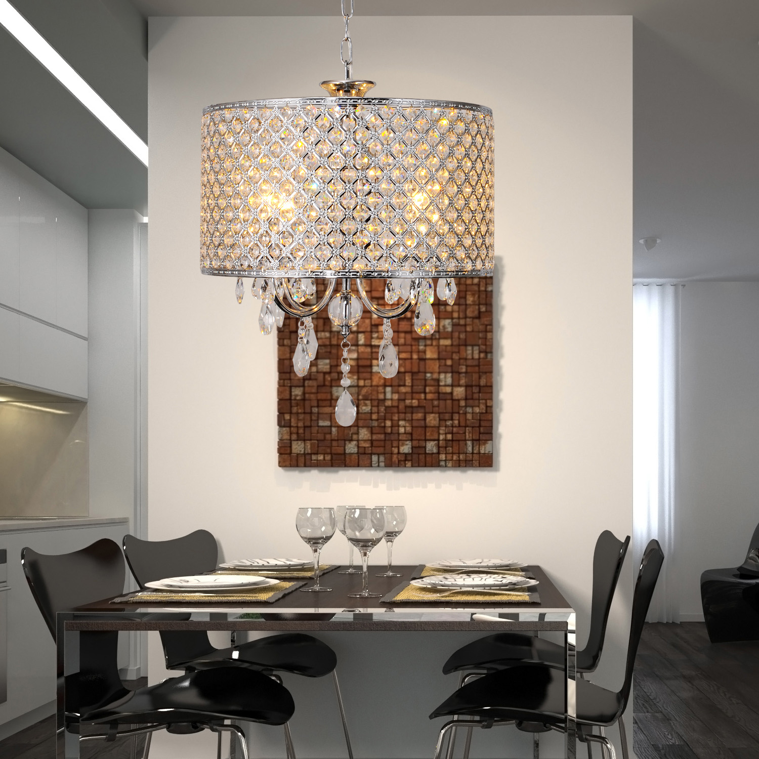 Modern new drum crystal chandelier with 4 lights light for dining room bedroom ebay - Dining room crystal chandelier lighting ...