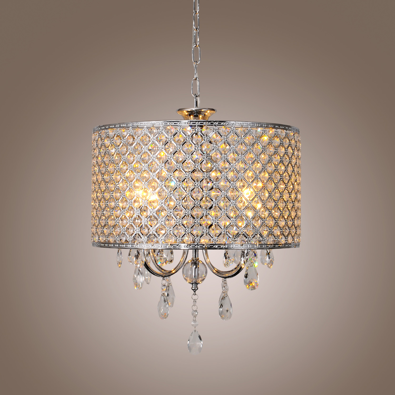 modern new drum crystal chandelier with 4 lights light for