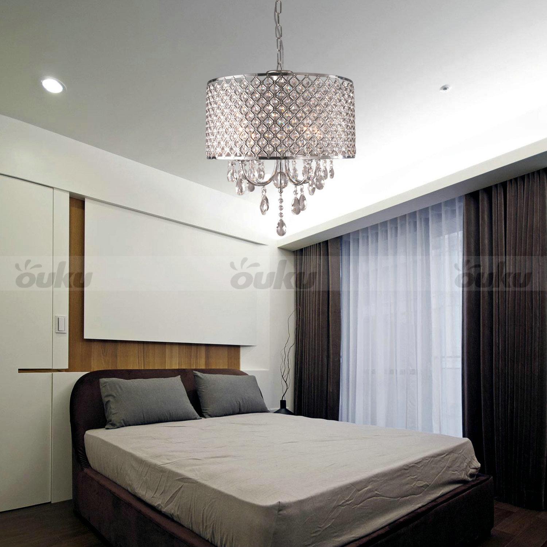Drum Chandelier Crystal Modern 4 Lights Ceiling Light