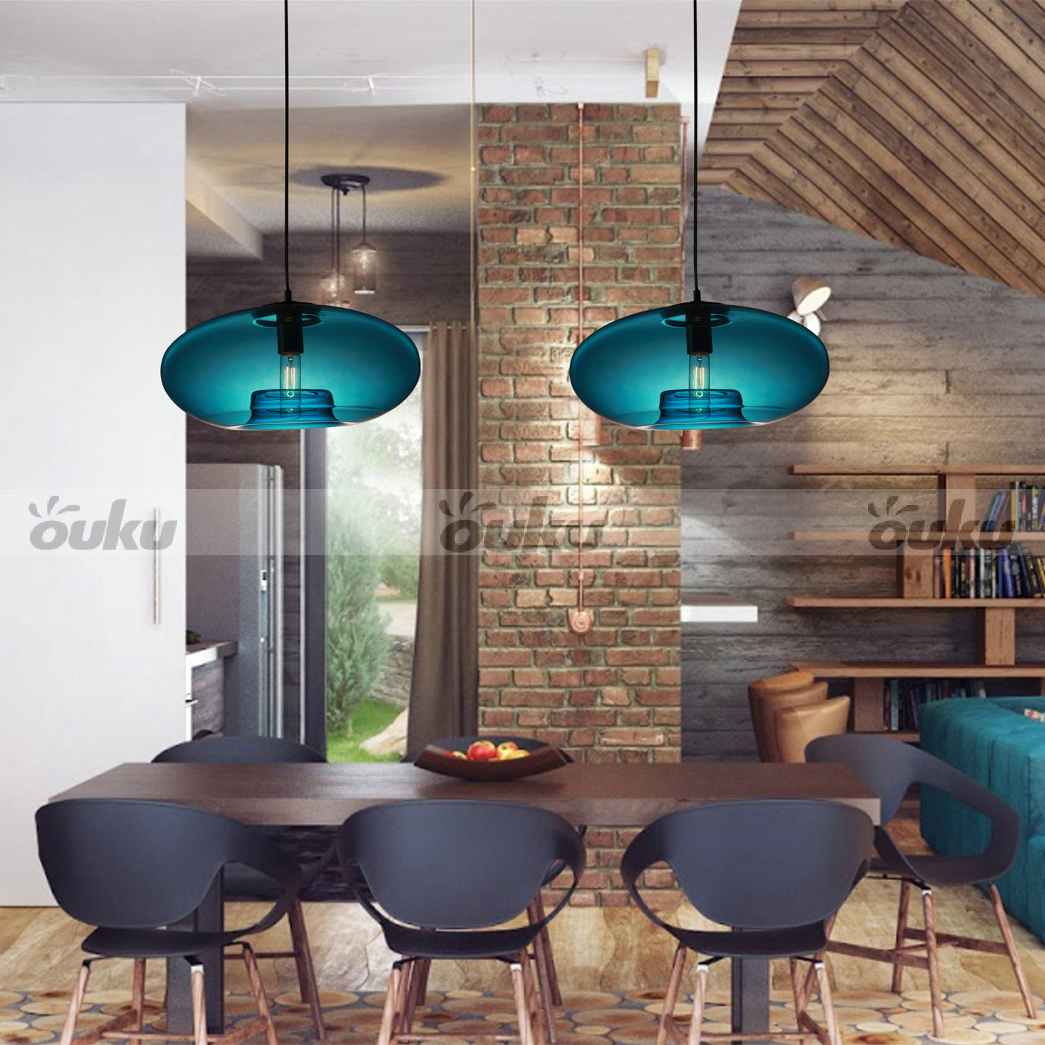 Blue Glass Pendant Lamp Modern Bubble Design Ceiling Light For Dining LivingRoom